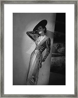 A Model Wearing A Lucien Lelong Dress Boucheron Framed Print by Andr? Durst