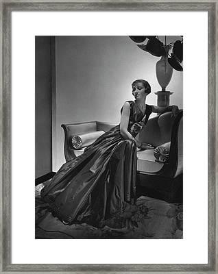 A Model Wearing A Maggy Rouff Dress Framed Print