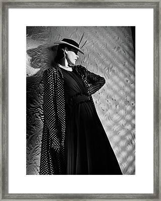 A Model Wearing A Mainbocher Coat And At Talbot Framed Print