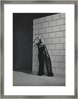 A Model Wearing A Mainbocher Dress Framed Print by Horst P. Horst