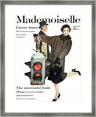 A Model Wearing A Modelia Tweed Coat Framed Print