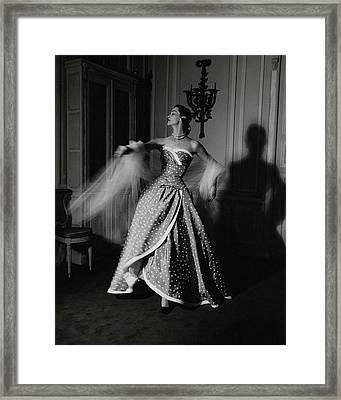A Model Wearing A Polka Dot Dress Framed Print