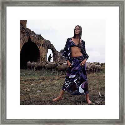 A Model Wearing A Purple Pucci Pattern Framed Print