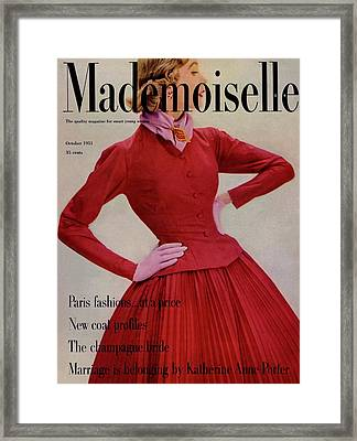 A Model Wearing A Rappi Taffeta Dress Framed Print