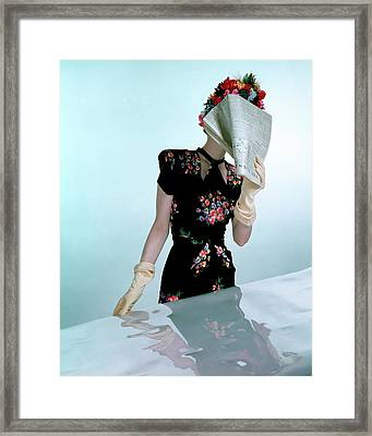 A Model Wearing A Rayon Crepe Dress Framed Print
