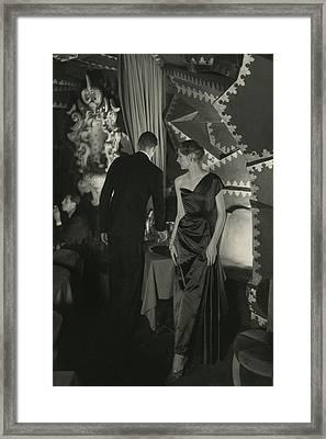 A Model Wearing A Schiaparelli Dress Framed Print by Donald Honeyman