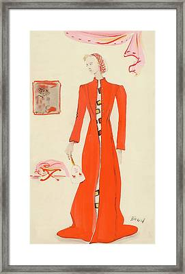 A Model Wearing A Schiaparelli Military Red Coat Framed Print by Christian Berard