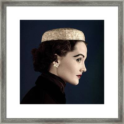 A Model Wearing A Siam Hat Framed Print by Horst P. Horst