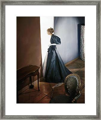 A Model Wearing A Slate Gray Coat Framed Print by Horst P Horst