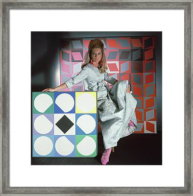 A Model Wearing A Stella Robe With Vasarely Framed Print by Horst P. Horst