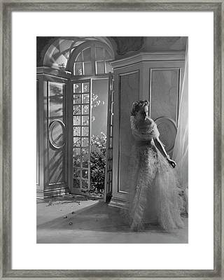 A Model Wearing A Tulle Dress Framed Print by Horst P. Horst