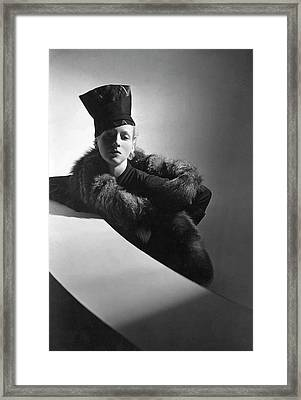 A Model Wearing A Turban And Stole Framed Print by Horst P. Horst