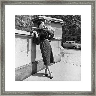 A Model Wearing A Tweed Suit Framed Print by Horst P. Horst