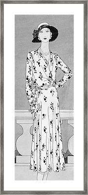 A Model Wearing A Vionnet Dress Framed Print
