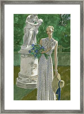 A Model Wearing A Vionnet Dress Framed Print