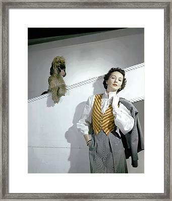 A Model Wearing A Wool Suit And Striped Vest Framed Print