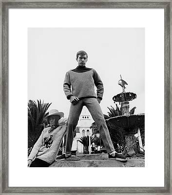 A Model Wearing A Woolen Sweater Framed Print by Leonard Nones