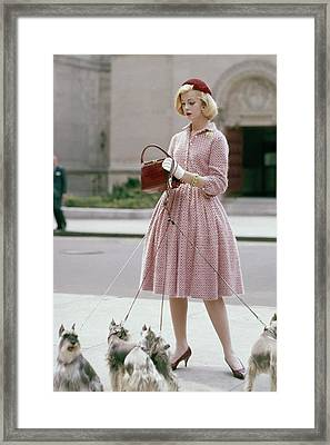 A Model Wearing An Anne Fogarty Dress Framed Print