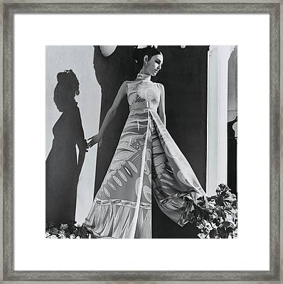 A Model Wearing An Evening Wear Framed Print