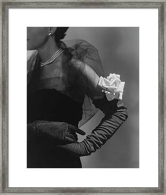 A Model Wearing And Velvet Rose Framed Print by Horst P. Horst