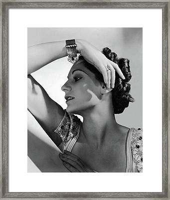 A Model Wearing Black Starr & Frost-gorham Framed Print by Horst P. Horst