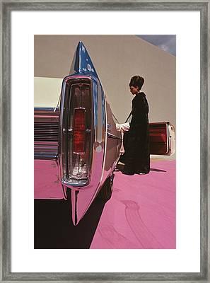 A Model Wearing Emeric Partos Entering A 1965 Framed Print