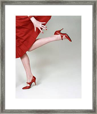 A Model Wearing Fleming-joffe Shoes Framed Print by Richard Rutledge