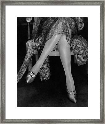 A Model Wearing Satin Shoes Framed Print
