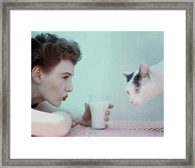 A Model With A Cat Framed Print