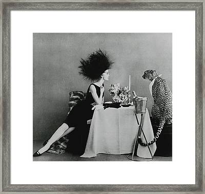 A Model With A Cheetah Framed Print