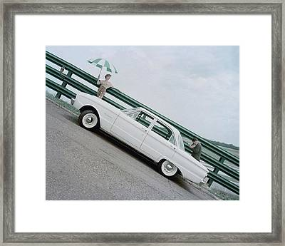 A Model With A Ford Falcon Framed Print