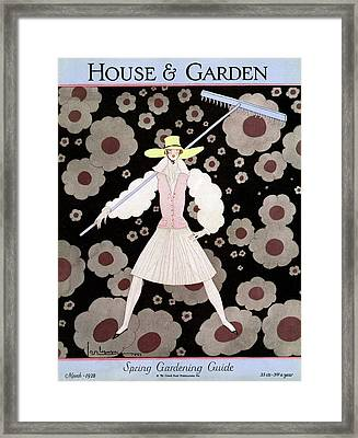 A Model With A Rake Framed Print by Georges Lepape
