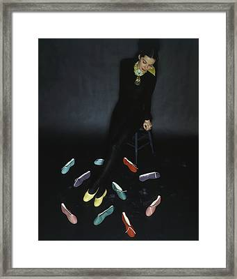 A Model With Footlights Ballet Slippers Framed Print