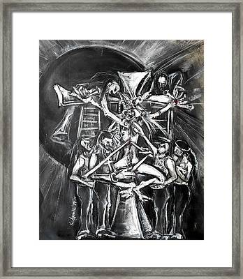 A Modern Crucifixion Before A Blackened Sun Framed Print by Kenneth Agnello