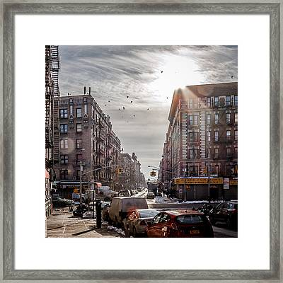 A Moment In Manhattan  Framed Print