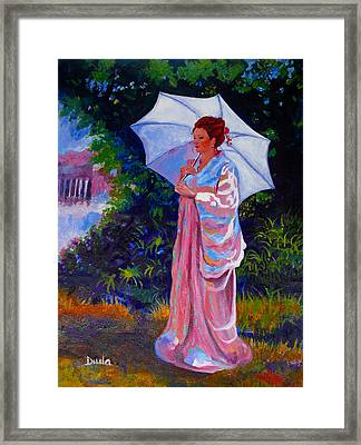 A Moment To Reflect In The Garden Framed Print by Susan Duda