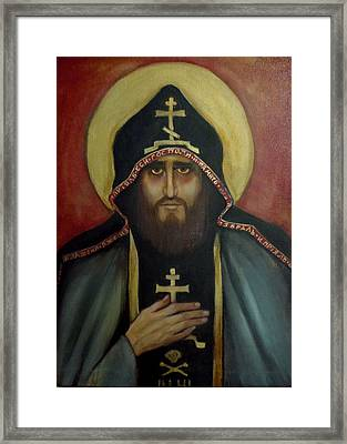 Framed Print featuring the painting A Monk by Irena Mohr