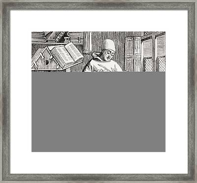 A Monk Scribe Surrounded By Manuscripts And Books At His Desk, After A 15th Century Work, From Les Framed Print by French School