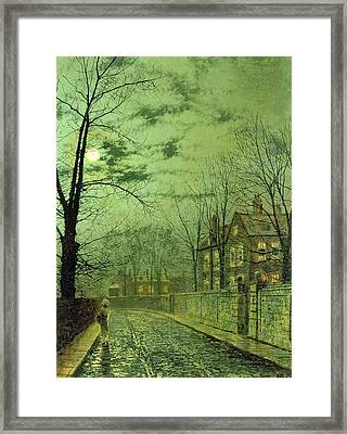 A Moonlit Road Framed Print by John Atkinson Grimshaw