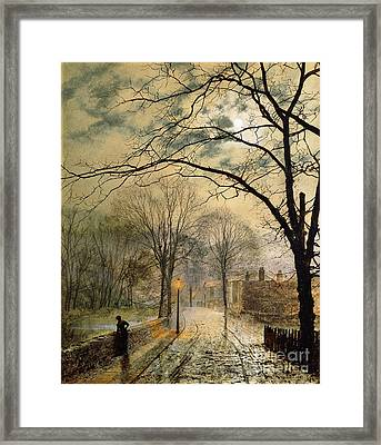 A Moonlit Stroll Bonchurch Isle Of Wight Framed Print by John Atkinson Grimshaw