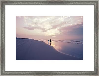 A Morning Walk On The Beach Framed Print