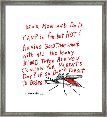 A Mosquito Writes In Blood A Letter Home Framed Print
