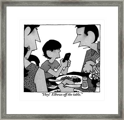 A Mother, Father And Son At Family Dinner Framed Print