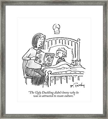 A Mother Reads A Bedtime Story To Her Daughter Framed Print