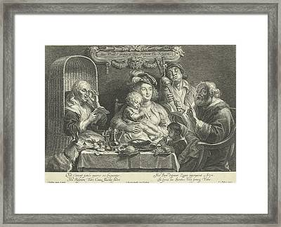 A Mother Sits With A Small Child Playing Flute On Her Lap Framed Print