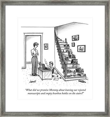 A Mother Speaks To Her Son Framed Print