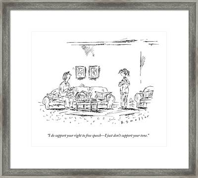 A Mother Talks To Her Daughter Framed Print