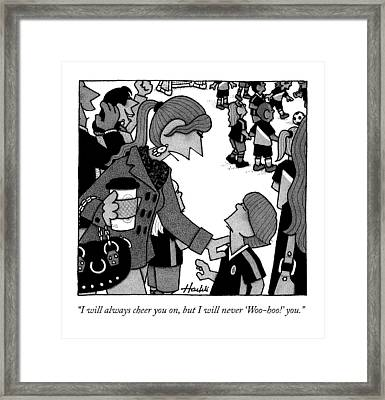 A Mother Talks To Her Son At His Soccer Game Framed Print by William Haefeli