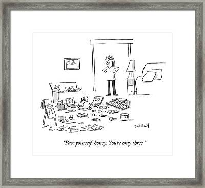 A Mother Talks To Her Toddler Daughter Framed Print by Liza Donnelly