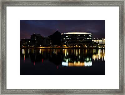 A- Mountain Reflection In Tempe Town Lake Framed Print by Dave Dilli